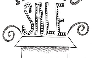 "hand lettered ""moving sale"" with box. raster illustration"